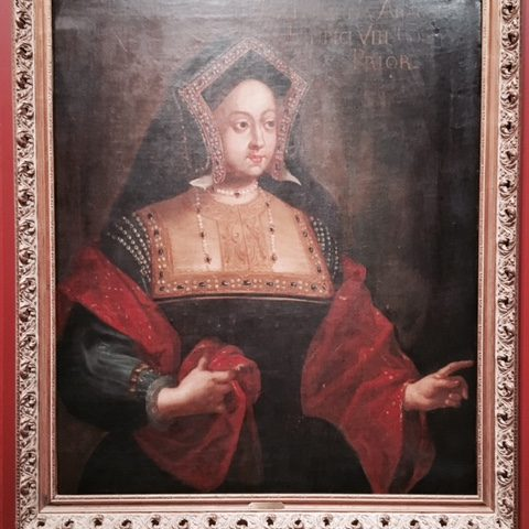 School of Hans Holbein the Younger Germany (1497/98-1543)  Catherine Aragonens Henrici VIII Convix Prior, date unknown  Oil on Canvas Gift of Larry Hartford and Torleif Tandstad, 2016.1.18